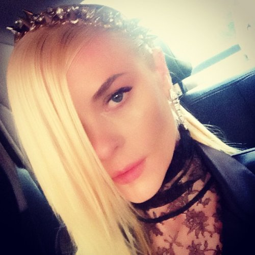 Jaime King rocked a studded headband and lace high-neck dress. Source: Instagram user jaime_king