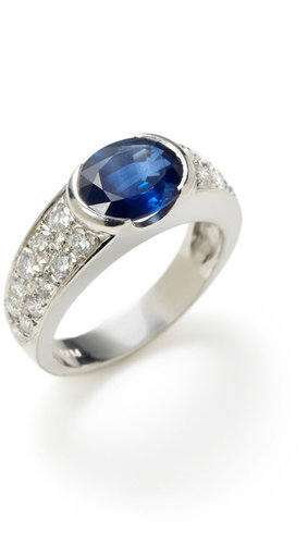Platinum & Oval Sapphire Band Ring