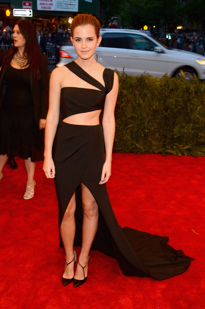 Emma Watson's black cutout Prabal Gurung gown revealed lots of sexy skin — more than we're used to seeing on her.