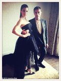Jessica Biel posed with Giambattista Valli before heading to the Met Gala. Source: Jessica Biel on WhoSay