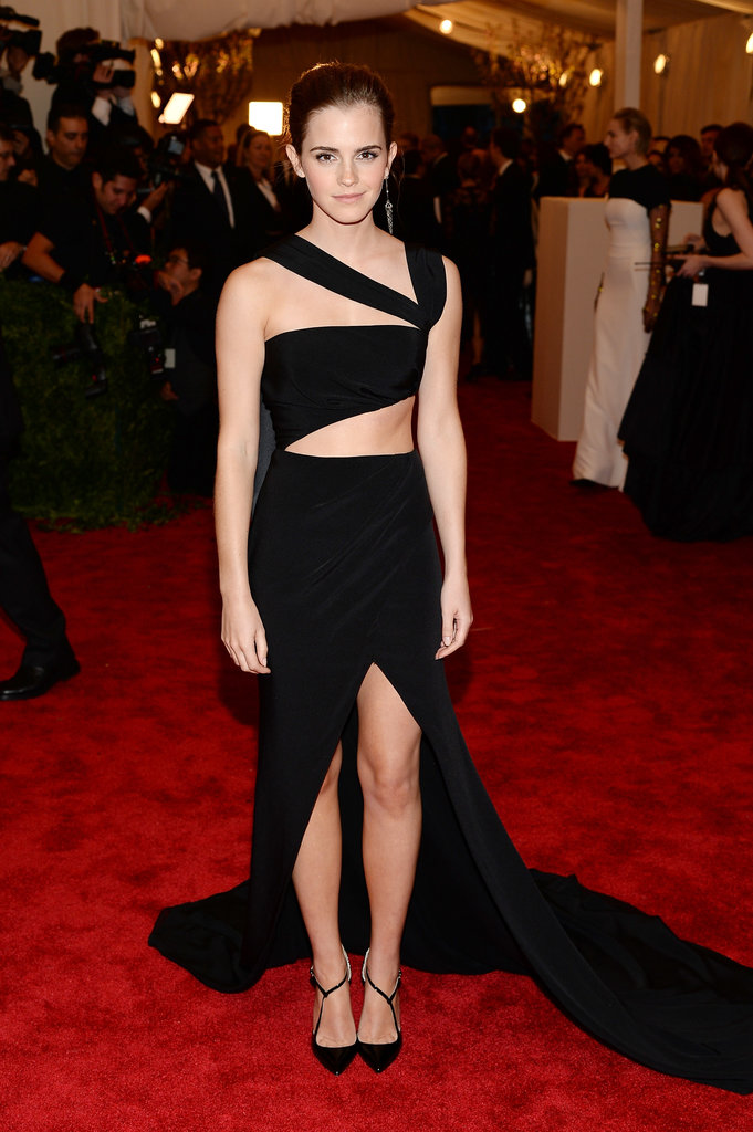 Emma Watson showed quite a bit of skin in her sexy black dress.