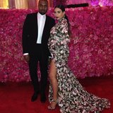 Kim Kardashian and Kanye West stopped to smell the roses at the Met Gala. Source: Instagram user kimkardashian