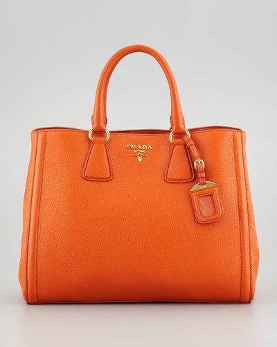 Prada Vitello Daino East-West Tote Bag, Papaya Orange