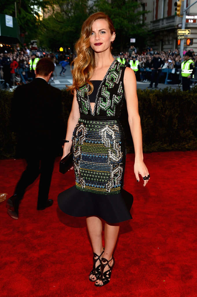 Brooklyn Decker was playful in a multicolored, beaded, custom Peter Pilotto dress with a dramatic ruffle hem.