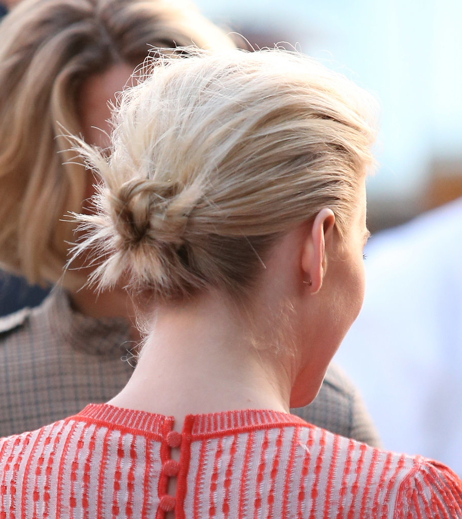 The back of this style was knotted into a cute little bun with lots of pieces poking out.