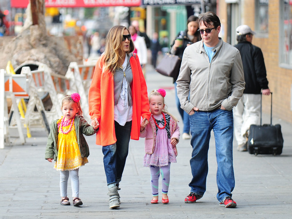 Sarah Jessica Parker and Matthew Broderick took their twins, Tabitha and Loretta, to school in NYC on Monday.
