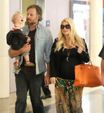Jessica Simpson, Eric Johnson, and their daughter, Maxwell, landed in LA.