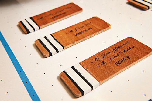 Hockey Stick Escort Cards