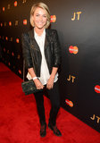 Julianne Hough toughened up her white button-down with a black leather biker jacket and lace-up boots at an event in NYC. She injected a hint of posh via a chain-handle Roger Vivier bag.