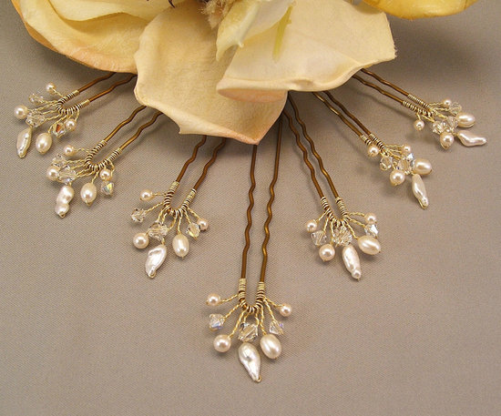 There's nothing typical about these handmade gold and pearl hair pins ($35).