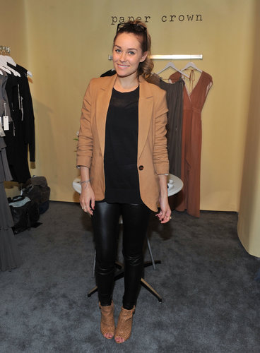 Lauren married camel and black in a crisp blazer, leather pants, and perforated booties in 2011. Lesson from Lauren: camel and black make a powerful pair.