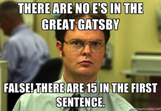 Dwight meets The Great Gatsby? Pure gold.  Source: Meme Generator