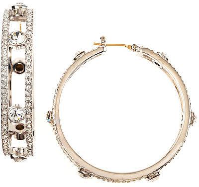 ABS by Allen Schwartz Pave Station Hoop Earrings