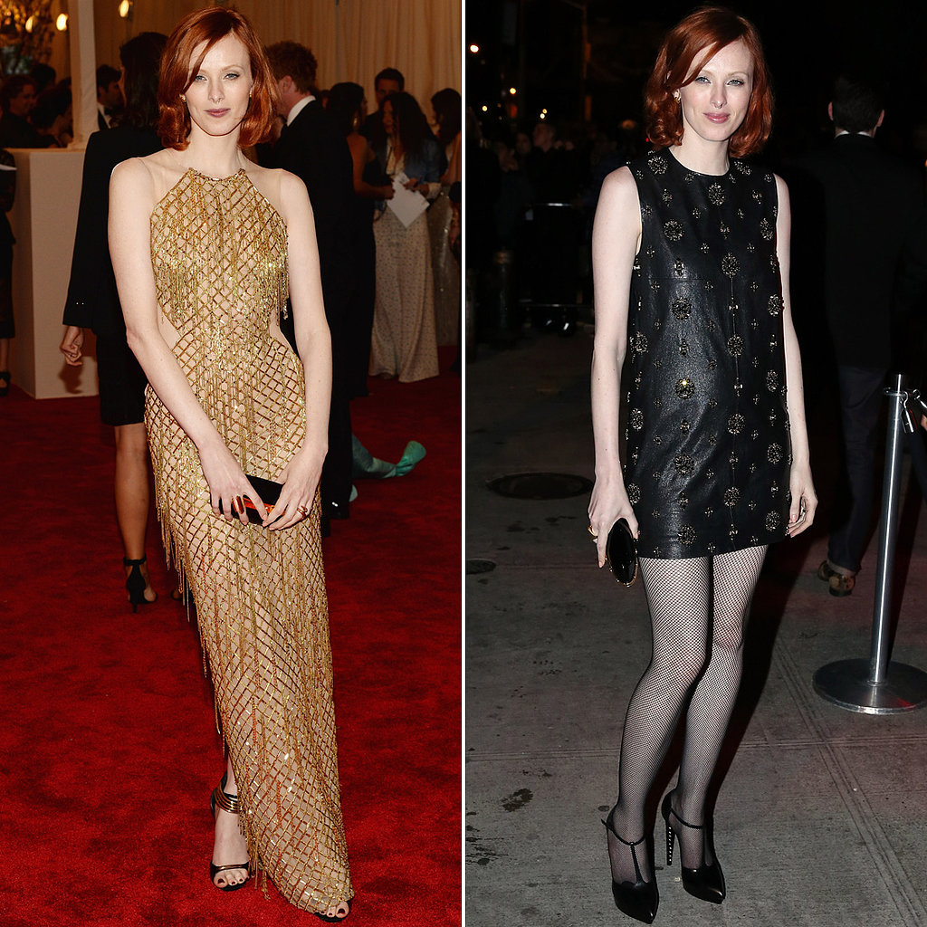 Karen Elson ditched her gold beaded and fringed Julien MacDonald halter gown in favor of a sexier Saint Laurent LBD, T-strap heels (also by Saint Laurent), and fishnet tights.