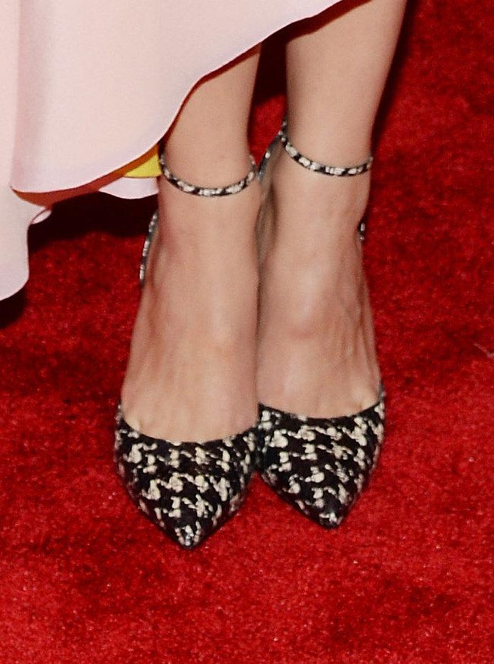Marion Cotillard wore houndstooth Dior heels.