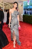 J. Mendel Organza Stripe Gown ($5,600), worn by Chanel Iman Source: Joe Schildhorn/BFAnyc.com