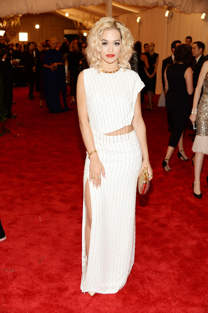 Rita Ora opted for white lasdt night. Her Thakoon gown and Nicholas Kirkwood studded pumps really stood out on the red carpet.
