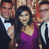 Mindy Kaling and best friend B.J. Novak posed with Cash Warren for Cash's wife, Jessica Alba. Source: Instagram user jessicaalba
