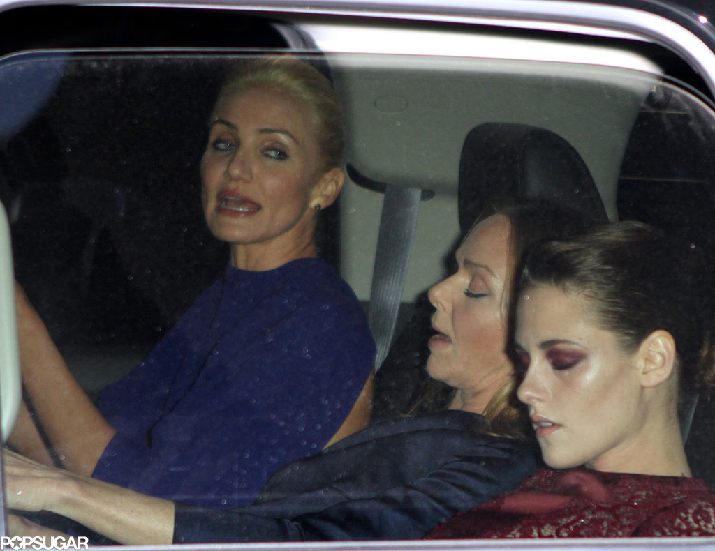 Kristen Stewart, Stella McCartney, and Cameron Diaz leave for the Met Gala 2013.