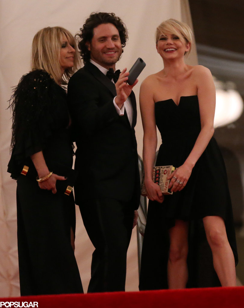 Michelle Williams left the Met Gala with Kim Gordon and Edgar Ramirez.