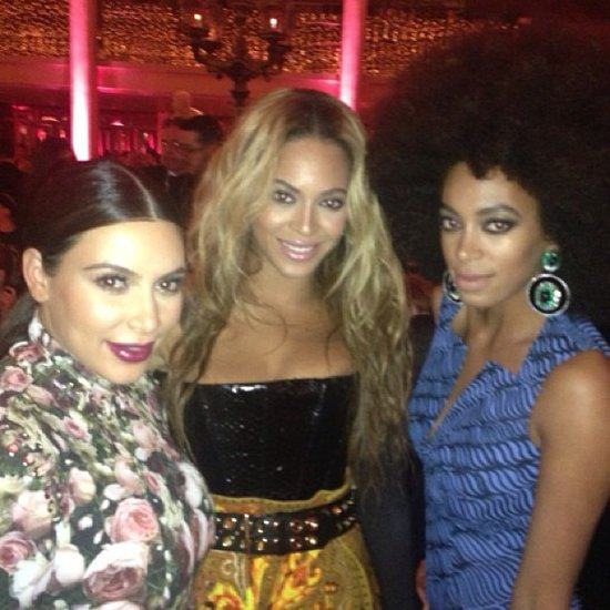 Kim Kardashian snapped a Met Gala candid with Beyonce and Solange Knowles. Source: Instagram user kimkardashian
