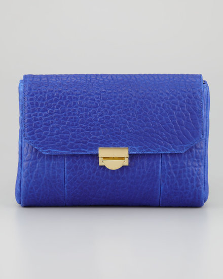 The buttery softness of pebbled leather can't be beat. The texture becomes a visual factor, too, when done in a bright hue like Lauren Merkin's day-appropriate clutch ($325).