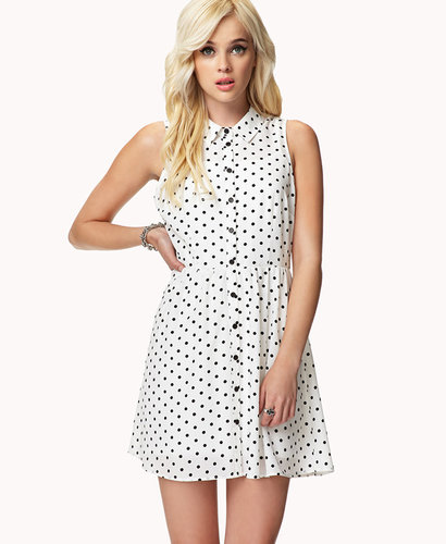FOREVER 21 Polka Dot Shirt Dress
