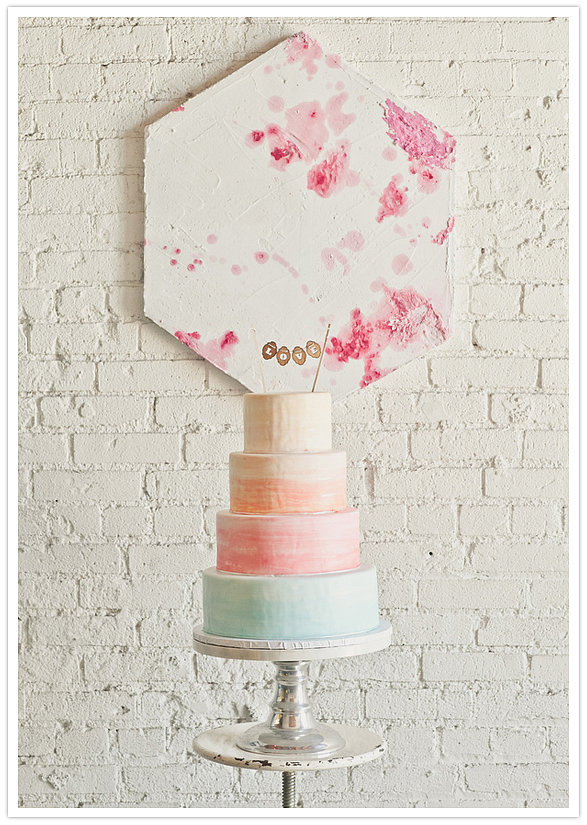 For a modern twist on a pastel palette, this cake utilizes food coloring to create a watercolor effect.  Photo by onelove photography  via 100 Layer Cake