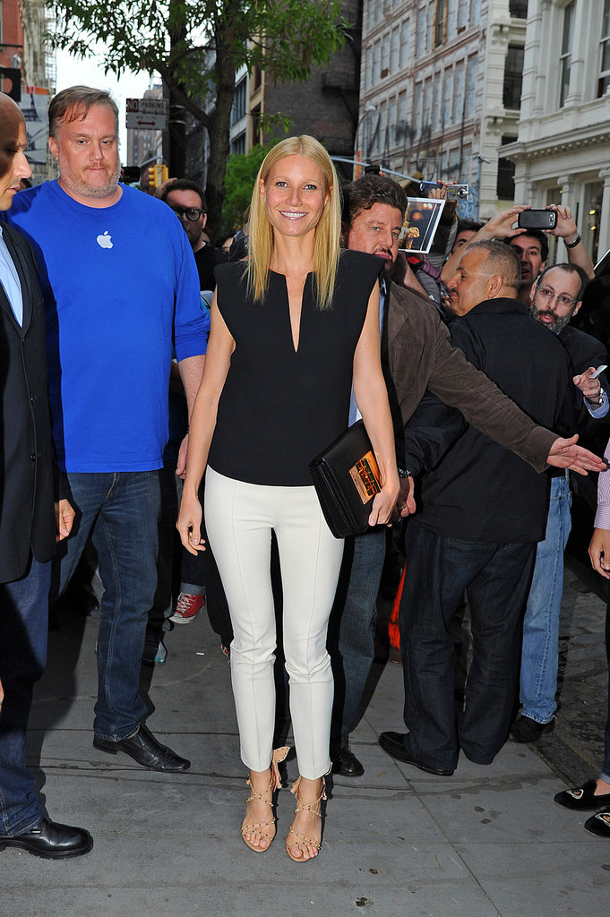 Gwyneth Paltrow made a stop at the Apple store in NYC's SoHo neighborhood to introduce her Goop app.