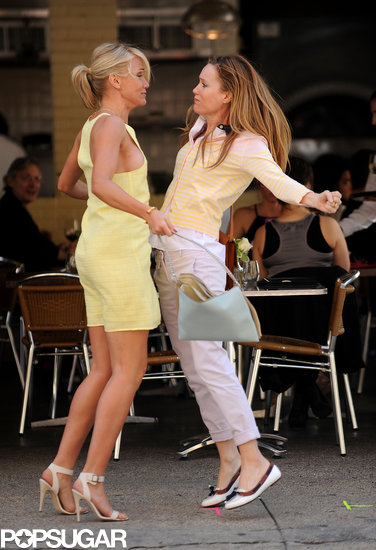 Cameron Diaz and Leslie Mann filmed a fight scene.