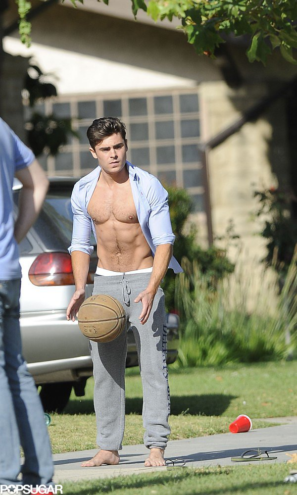 Zac Efron played around with a basketball on set.