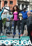 Megan Fox hopped on a trampoline to shoot scenes for Teenage Mutant Ninja Turtles on Tuesday in NYC.