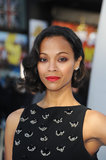 Zoe Saldana took a modern approach to a vintage visage at the premiere of Star Trek Into Darkness in the UK, with a ruddy red hue swept across her eyes.