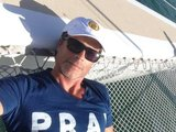 "Rob Lowe sported some scruff while sharing this ""selfie at sea."" Source: Twitter user RobLowe"