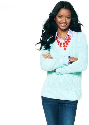 Metallic Linen V-Neck Slouch Sweater