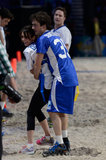 In February, Ian Somerhalder got handsy with Nina Dobrev when they played touch football with other celebrities at a pre-Super Bowl event.