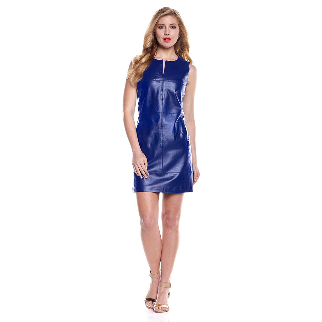G by Giuliana Rancic Genuine Leather Shift Dress Stuck in a fashion rut? Get out of your comfort zone and try this unexpected combination of genuine leather texture and electrifying color — available in navy or papaya.