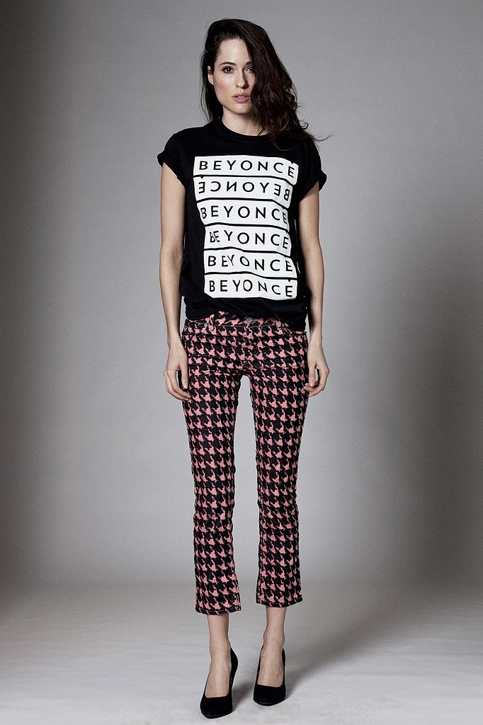 As much as her tour is all about Mrs. Carter, she will always be Beyoncé. Just don't make her repeat it six times like she does on this black typographic t-shirt ($40).  Source: Beyoncé Online Shop