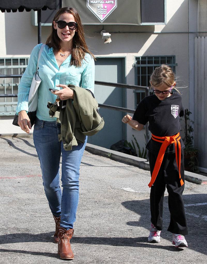 Jennifer Garner took Violet Affleck to karate class.