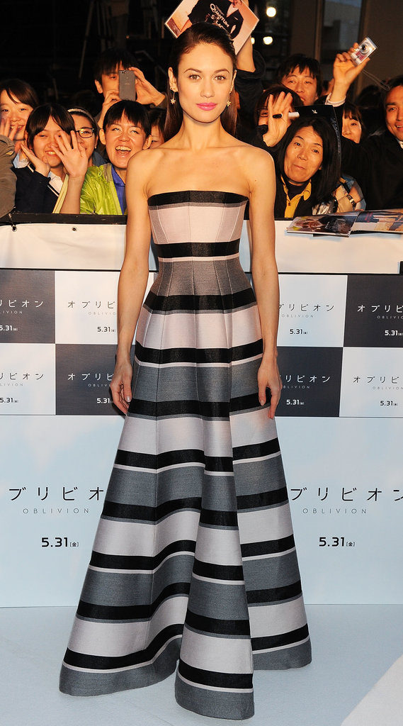 Olga Kurylenko in Striped Dior Gown