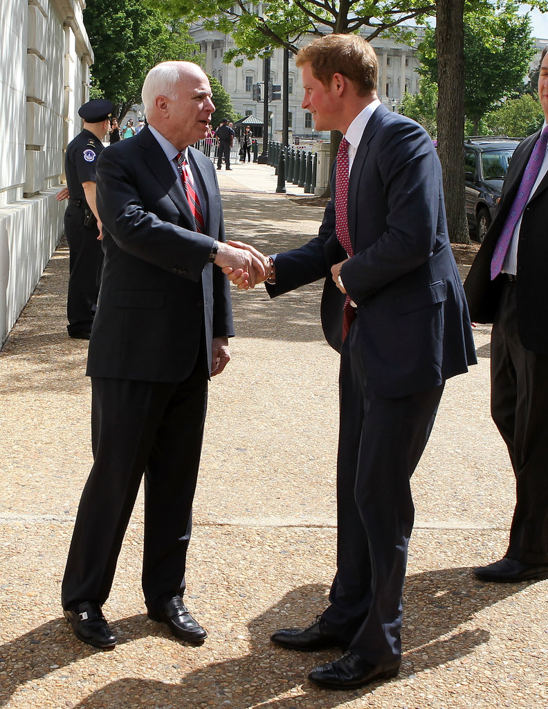Prince Harry was greeted by John McCain in DC ahead of a charity event.