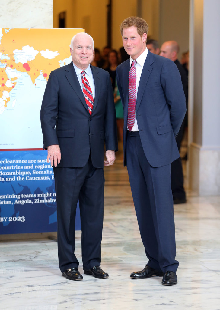 Prince Harry smiled with John McCain on Thursday during the start of his trip in Washington DC.