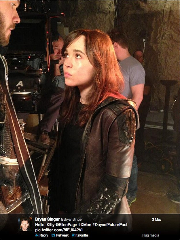 Bryan Singer, producer of X-Men: Days of Future Past, reveals the first shot of Ellen Page as Kitty Pryde.