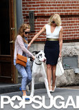 Cameron Diaz and Leslie Mann were joined by a giant Great Dane costar on their NYC set for The Other Woman on Monday.