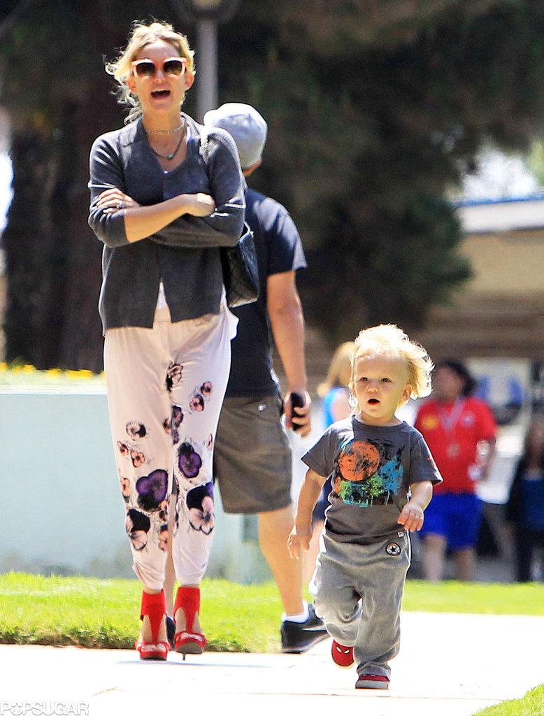 Kate Hudson had a laugh with her son Bing at a Santa Monica, CA, park.