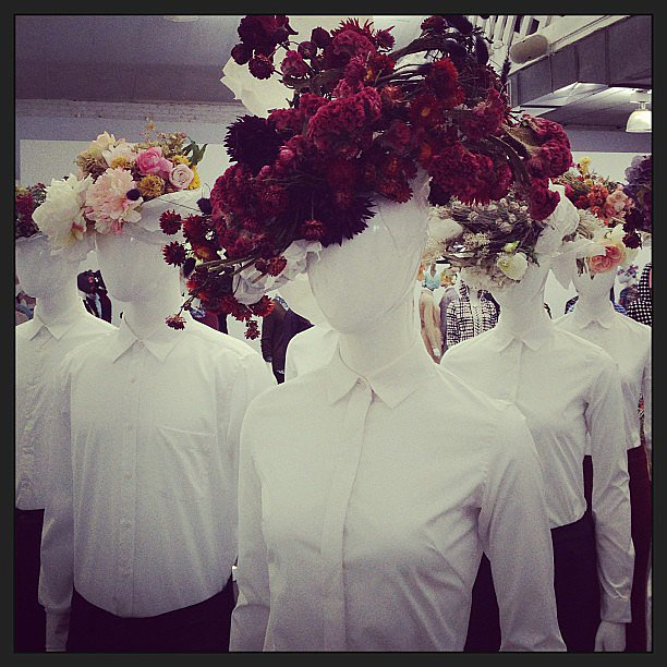 The perfect complement to Uniqlo's crisp shirts: dramatic floral headpieces.