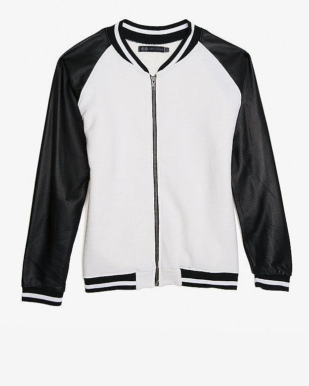 The bomber jacket is back for Spring and Summer. Get in on the action with Jet by John Eshaya's two-toned pick ($395).