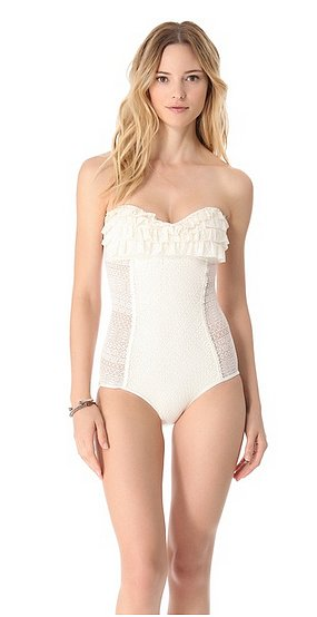 Juicy Couture's Prima Donna Ruffle Maillot ($151) is equal parts sweet and sexy.