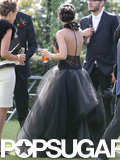 Shenae Grimes wore a black Vera Wang gown for her wedding.