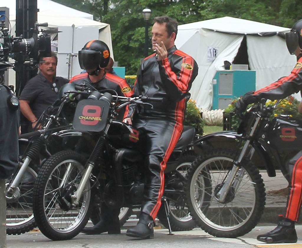 Vince Vaughn got on a motorcycle for Anchorman 2 in Atlanta on Friday.